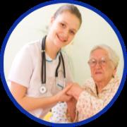 Caregiver and elder reading book